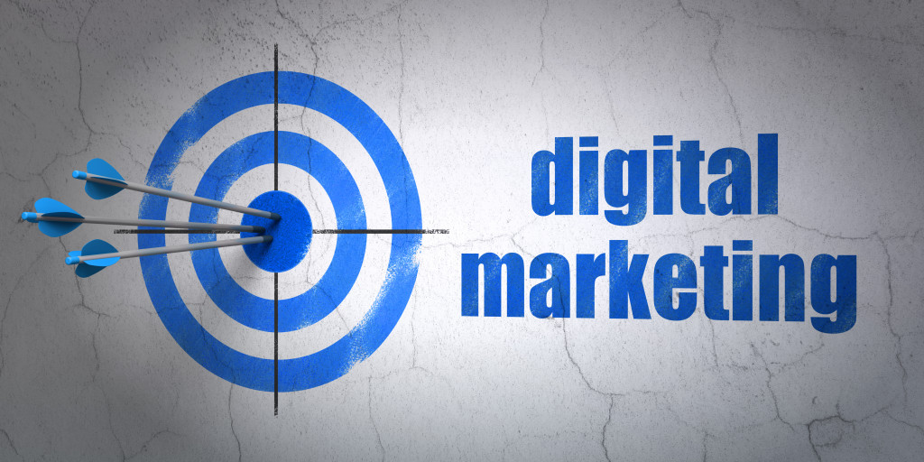 Marketing concept: target and Digital Marketing on wall backgrou