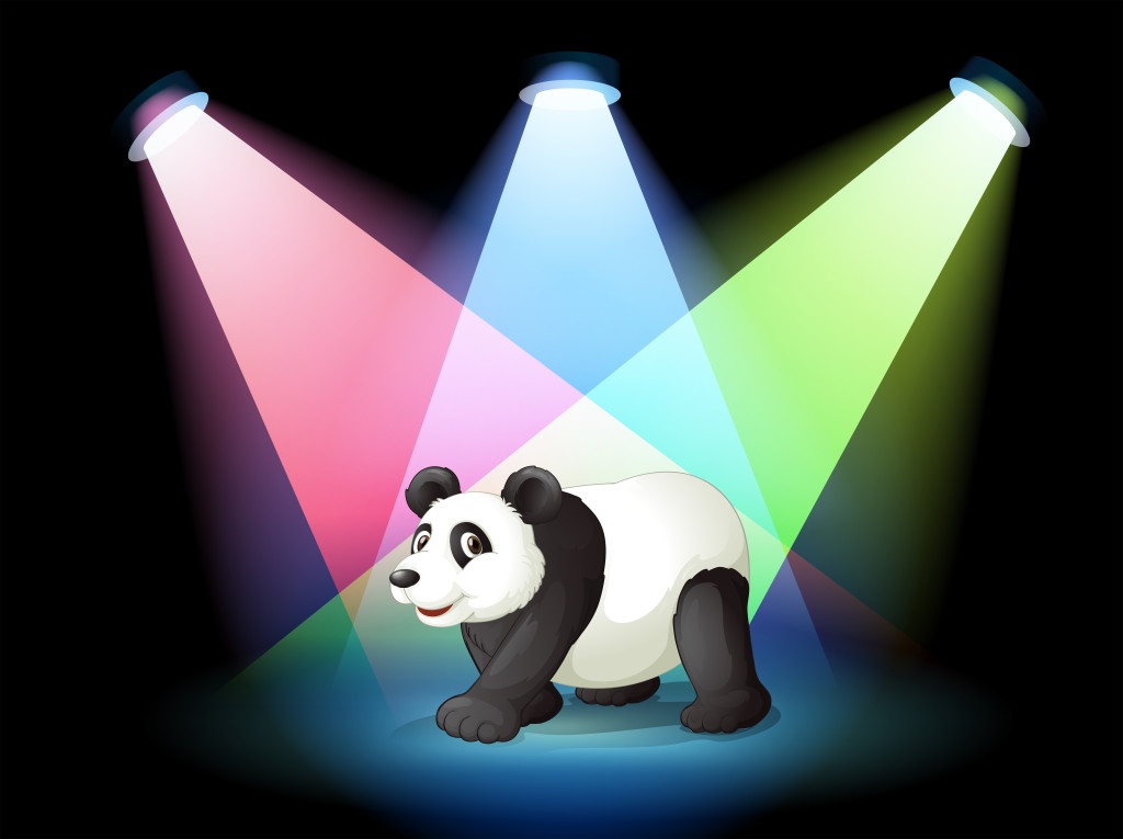 Illustration of a stage with a giant panda
