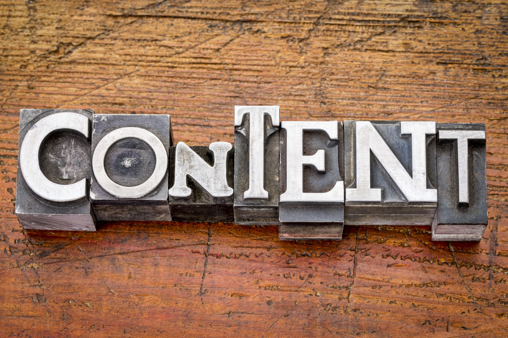 content  word in vintage metal type printing blocks over grunge