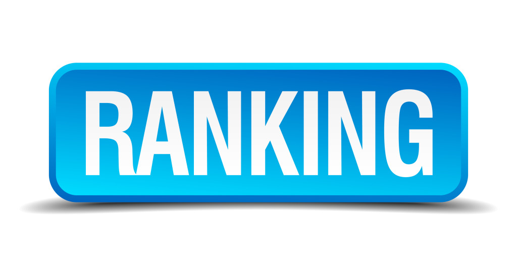 Ranking Blue 3D Realistic Square Isolated Button