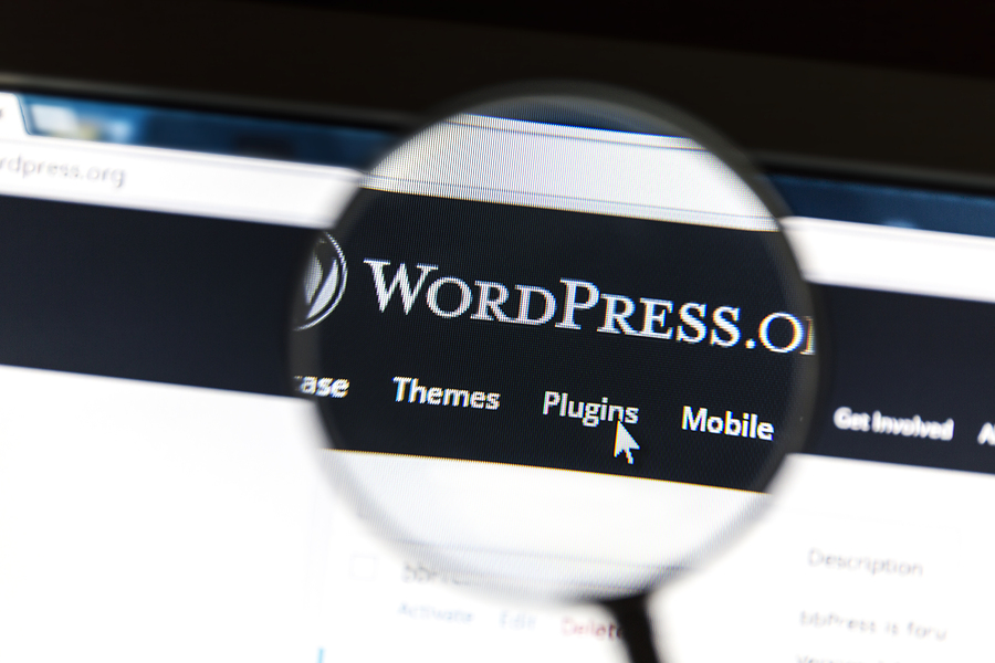Ostersund, Sweden - August 9, 2015: Close up of WordPress websit